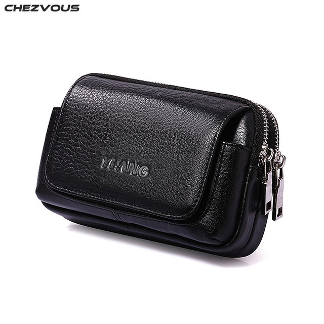 CHEZVOUS Belt Pouch Leather Case for iphone 7 8 6 x Belt Clip Bag for Samsung S8 S7 S6 Classical Mobile Phone Bag Men Waist Pack