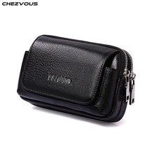 CHEZVOUS pochette ceinture cuir étui pour iphone 7 8 6 x ceinture Clip sac pour Samsung S8 S7 S6 classique téléphone portable sac hommes taille Pack