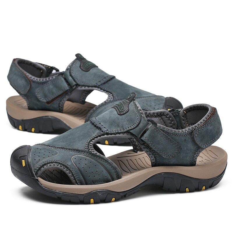 Marron light Split redbrown kaki Cuir Romaines Espadrilles Véritable Plage Chaussures Sandales Casual Flops Flip D'été Hommes Blue Pantoufles En Marque BTwUxZRq