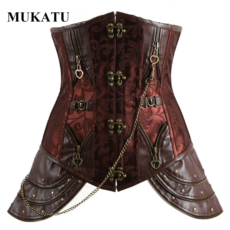 Brown Steel Bone Underbust   Corset   Steampunk   Corset     Bustier   Top Sexy Women Gothic   Corset   Dress   Bustier   and   Corset   Royal Corselet