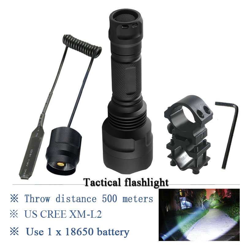 Tail switch 1MODE Tactical flashlight Portable Lighting Torch xm l2 t6 lanterna 18650 search hunting camping Zaklamp torches