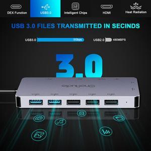 Image 3 - OneAudio 7/11 في 1 USB HUB C HUB إلى متعدد USB 2.0 3.0 4K HDMI محول قفص الاتهام لماك بوك برو اكسسوارات USB C نوع C الخائن