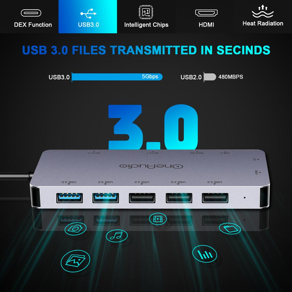 Image 3 - OneAudio 7/11 in 1 USB HUB C HUB to Multi USB 2.0 3.0 4K HDMI  Adapter Dock For MacBook Pro Accessories USB C Type C SplitterUSB Hubs