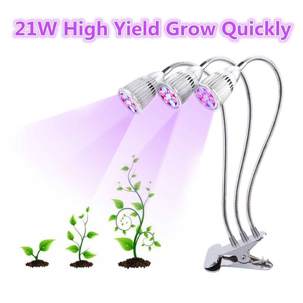 LED Grow Light Three Head Plant Desk Clip Light 21W High Yield Plant Grow Lamp For Indoor Greenhouse Office