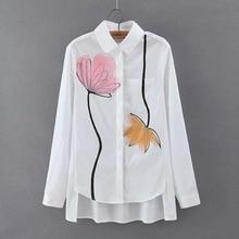 Spring Summer Long Sleeve Printed Blouse Shirt Women Polo Collar Ink Painting Lotus Print Dress Shirt White Tops Casual Clothing