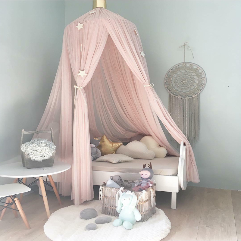 Hanging Kid Bedding Round Dome Bed Canopy Bedcover Mosquito Net Curtain Home Bed Crib Tent Hung Dome Two Layer of Net Yarn 240CM