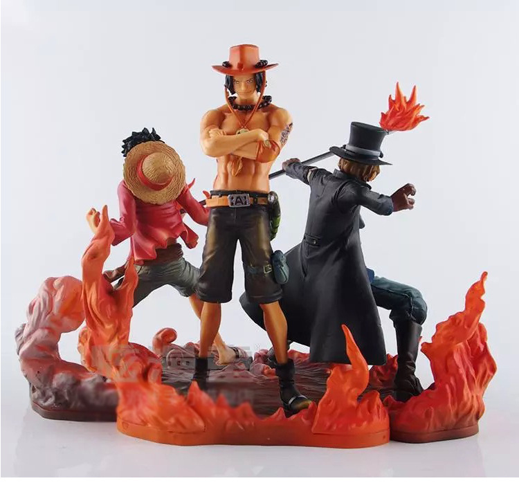 3PCS/SET Japanese Anime One Piece DXF Figure Sabo Ace Luffy 3 brothers combined model figure one set 4 pcs 95mm