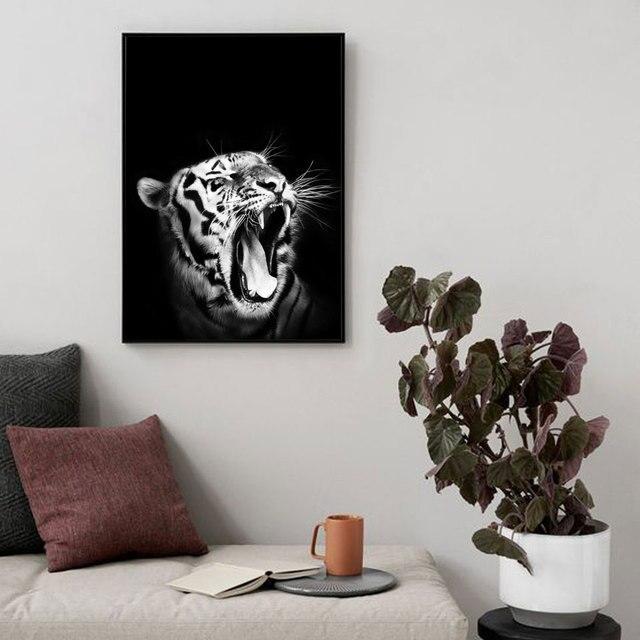 וההדפסים נורדי אמנות לבן טייגר שאגת בעלי החיים בד ציור שחור לבן קיר תמונות לסלון חדר עיצוב הבית
