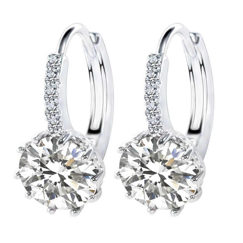 2018 Luxury Ear Earrings For Women 10 Colors Round With Cubic Zircon Charm Flower Earrings Women Jewelry Gift