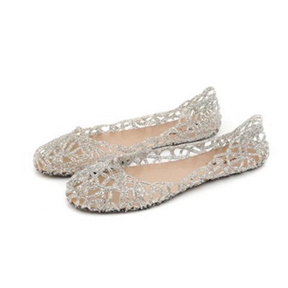 52d4eab9402c Women Flats Hollow Out Transparent Jelly Shoes Ballet Flats Casual shoes  slip on Loafers summer beach