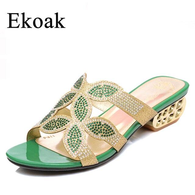 Ekoak Новый 2017 Летняя Мода Женщины Цветочный Rhinestone вырезы Средний Каблуки Сандалии Дамы Платье Обувь Женщина, Тапочки