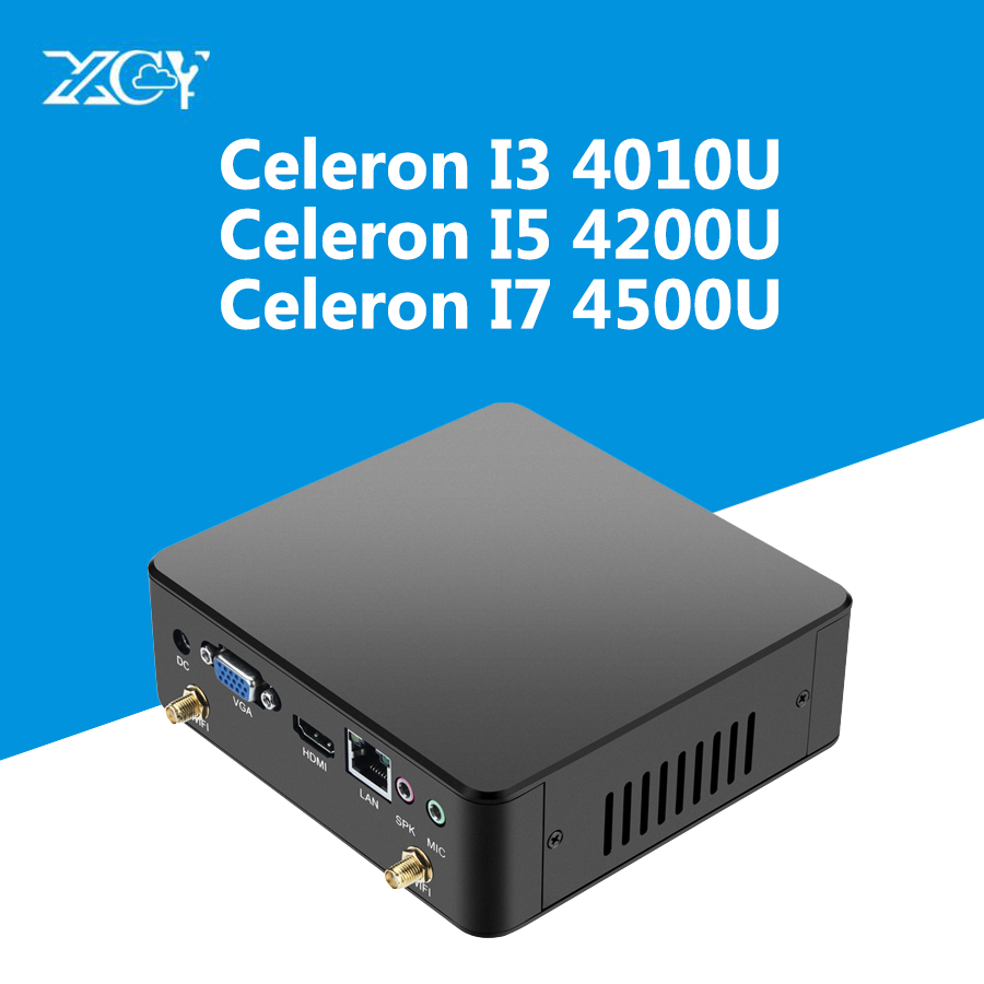 XCY Mini PC Intel Core i3 4010U i5 4200U i7 4500U Barebone Motherbroad RAM SSD HTPC Fanless HD 4K Wifi Aluminum Chase Computer xcy i5 4210y embedded computer high quality dual core 1 6ghz support mic higxcycetralized technology design 2g ram 8g ssd