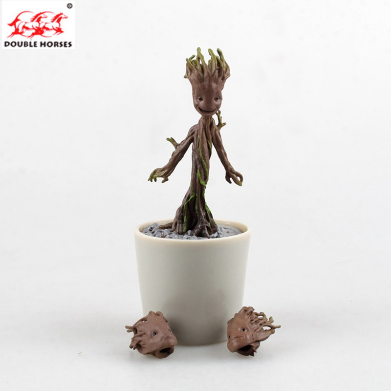 Tree Man 3 head Grootted potted Action Figure Galaxy 2 escort PVC material Adorable model toys for Grootted flowerpots ...