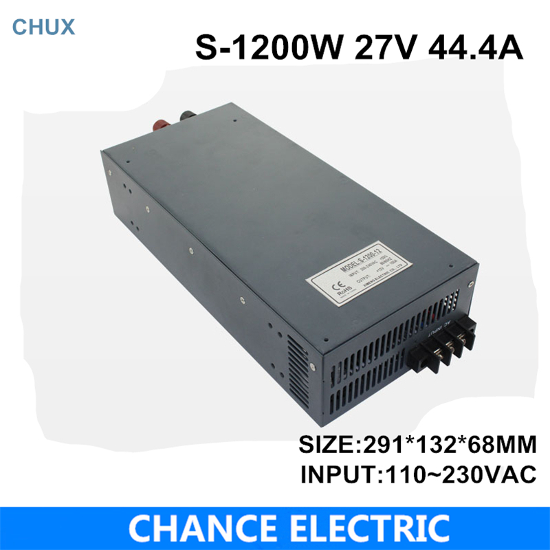 switching power supply 27V 44.4A 1200W 110~220VAC  single output input  for cnc cctv led light(S-1200W-27V)