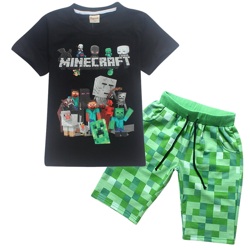 summer cotton boys girls children's 2018 shirt short-sleeved T-shirt shorts suit Minecraft cartoon pattern boys clothes marulong s0002 women s fashionable flower pattern short sleeved nightdress green multi color