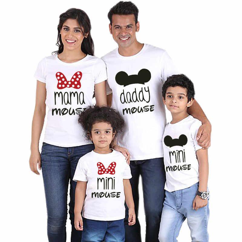 Family T shirt MINI เมาส์การ์ตูน Daddy mommy และ ME เสื้อผ้า Mama สาวพ่อแม่ลูกสาว Bows Matching outfits ดู NMD