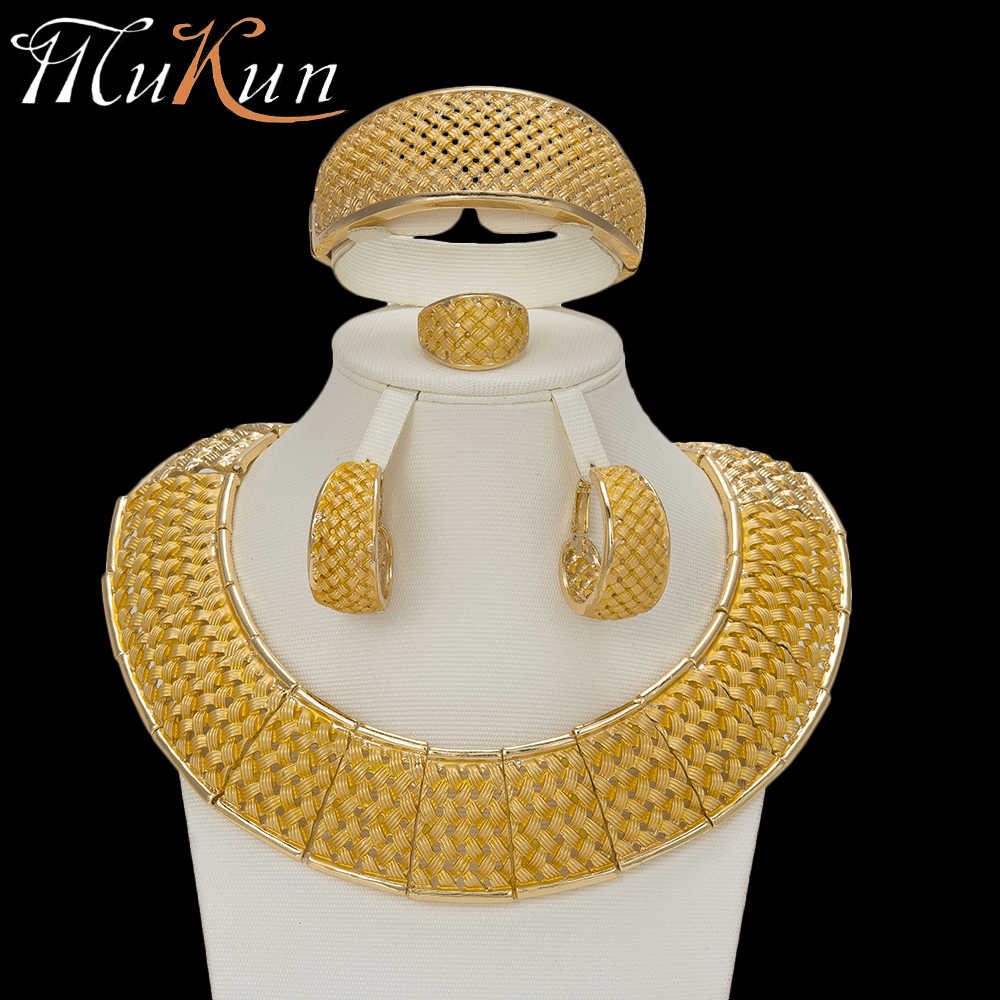 MuKun fashion African beads jewelry sets for women wedding Vintage Dubai gold jewellery sets luxury Italian jewelry designers