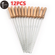 12PCS Outdoor 30cm Metal BBQ Barbecue Skewers Grill Kebab Needles Stick Wood Handle Kitchen Needle Wood Skewers BBQ Tools