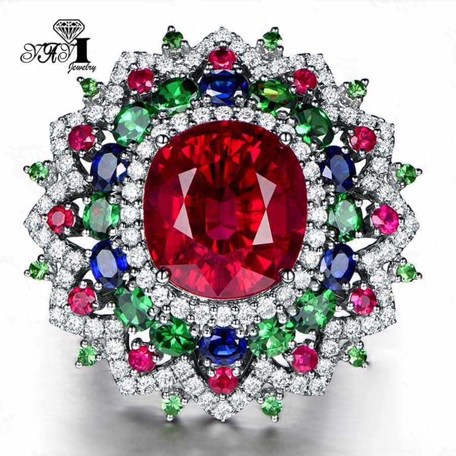 Yayi Perhiasan Modis Putri Memotong 6.3 Ct Multi-color Zirkon Perak Warna Cincin Pertunangan Cincin Kawin Cincin