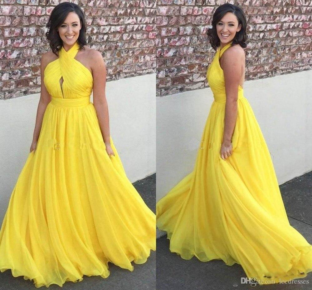Yellow Chiffon Long Evening Dresses Halter Pleated Floor Length Prom Dress Long Formal Gown evening dress 2019