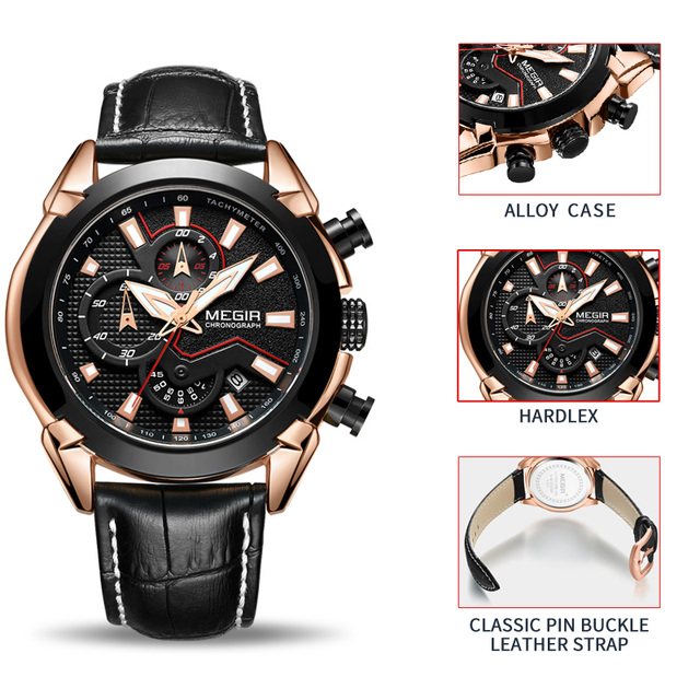 Mens Leather Chronograph sports Watch