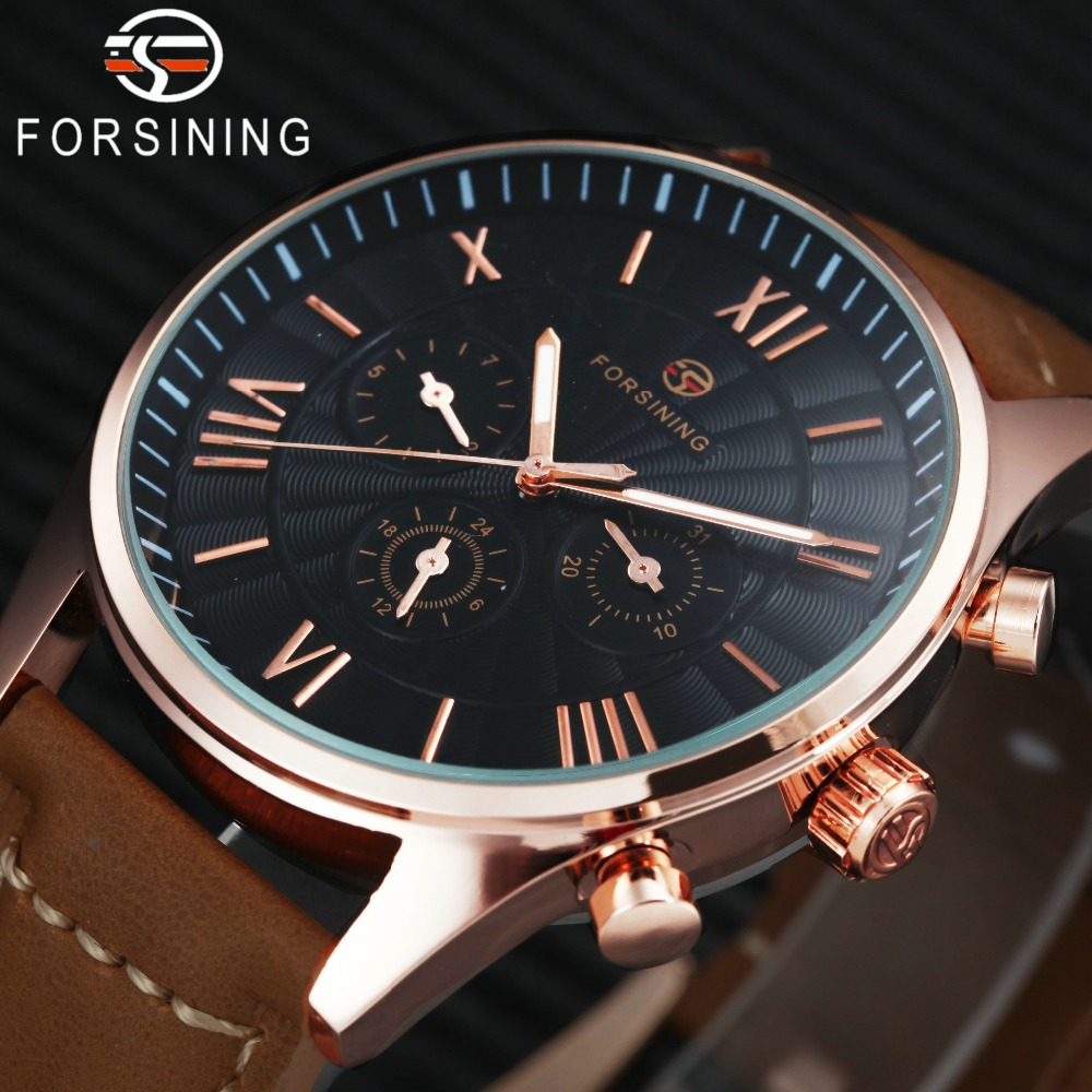 лучшая цена Top Brand Luxury Men Auto Watch 3 Sub-dials 6 Hands Display Brown Genuine Leather Band FORSINING Fashion Roman Mechanical Clock