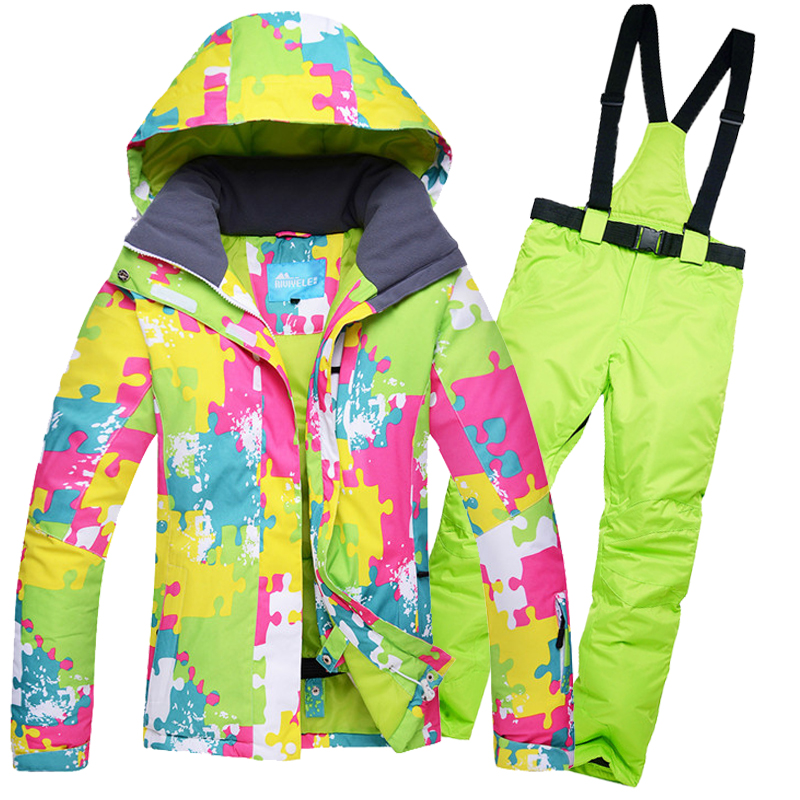 2018 RIVIYELE NEW Women Ski Suit Super Warm Clothing Skiing Snowboard Jacket+Pants Suit Windproof Waterproof Winter Wear все цены