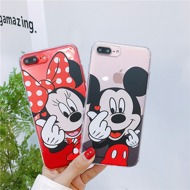 Cute Cartoon Transparent Case For <font><b>iphone</b></font> 11 pro x xs max xr <font><b>Mickey</b></font> Minnie Thin Soft Case Cover For <font><b>coque</b></font> <font><b>iphone</b></font> 6 <font><b>6s</b></font> 7 8 Plus image
