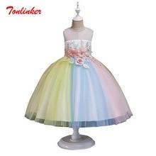 цена Girls Embroidery Flowers Princess Rainbow Tulle Tutu Party Dress Prom Sleeveless Birthday Party Dress Vestido онлайн в 2017 году