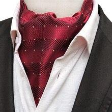 Дизайнер Для мужчин британский стиль шее носить роскошные формальный повод галстук Ascot бордовый красный с желтыми пятнами