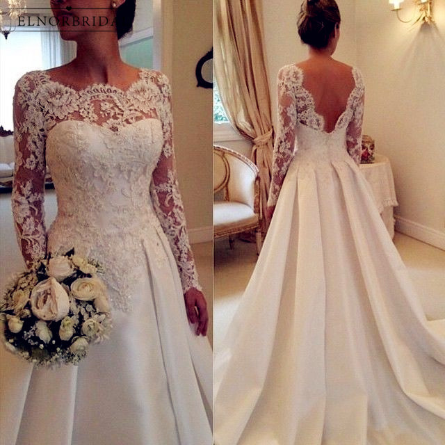White Ivory Long Sleeve Lace Wedding Dresses 2020 Casamento Sheer A Line Custom Made Bridal Gowns Open Back Robe De Mariee