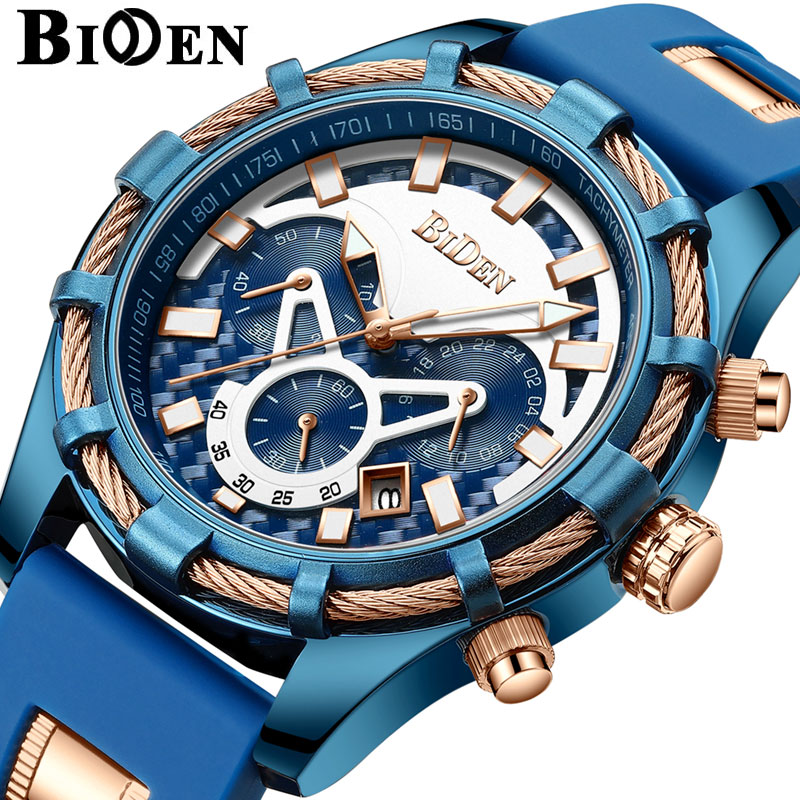 Top Brand BIDEN Men Watch Chronograph Military Sport Male Clock Black Rubber Business Quartz Wristwatch relogio