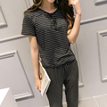 Summer new women's ladies short sleeve vertical striped two-piece leisure suit tide OL temperament pantyhose