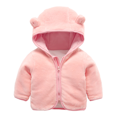 Newborn Baby Kids Girls Warm Outerwear Hoodies Hooded Coral Velvet Coat Jacket