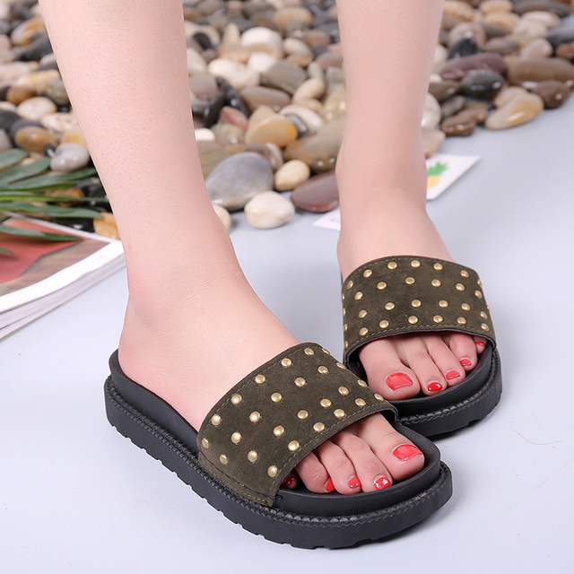 Women Summer Flat Sandals Slipper Indoor Outdoor Flip-Flops Beach Shoes