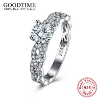 Real Solid 925 Sterling Silver Wedding Rings Girls Silver 925 Jewelry Pave Stackable Ring Clear CZ