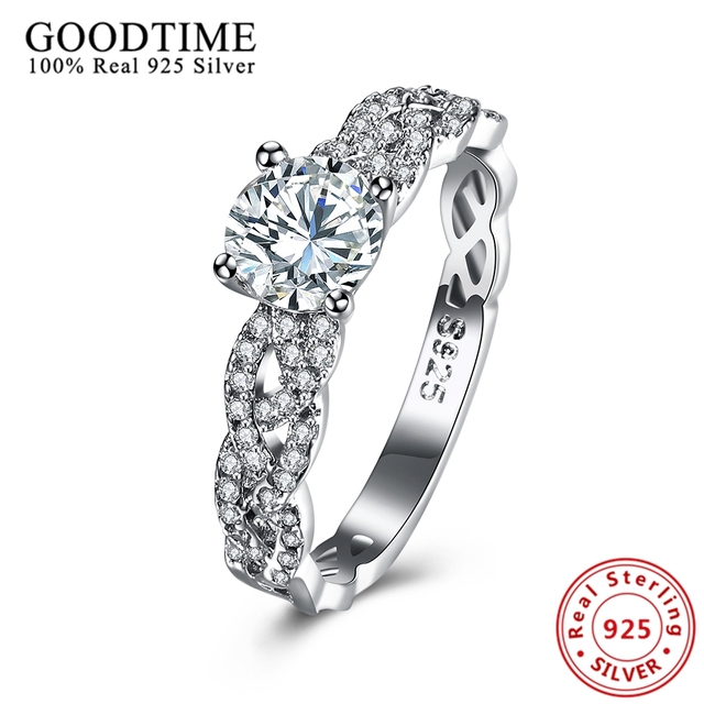 Real Solid 925 Sterling Silver Wedding Rings Girls Silver 925