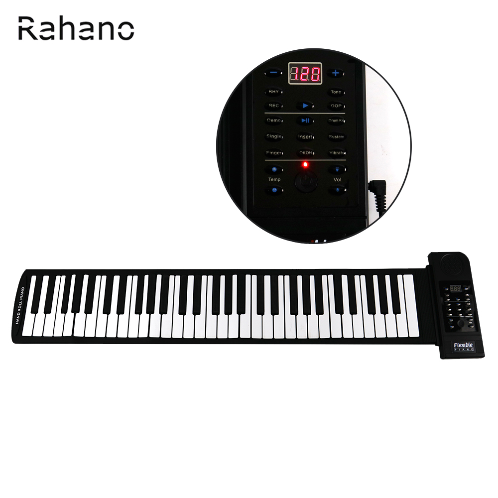 Rahano Portable 61 Soft Keys Flexible Electronic Keyboard Roll Up Digital Piano with USB MIDI portable mini roll up soft silicone flexible electronic digital music keyboard piano with loud speaker for different children
