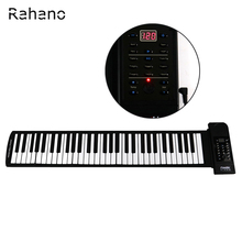 Rahano Portable 61 Soft Keys Flexible Electronic Keyboard Roll Up Digital Piano with USB MIDI