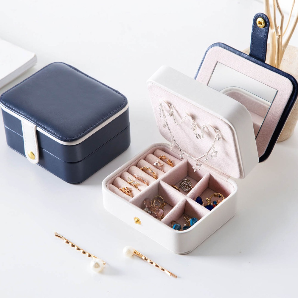 PU Leather Portable Jewerly Box Fashion Jewerly Organizer Jewelry Ring Necklace Storage Box Desktop Drawer Organizer
