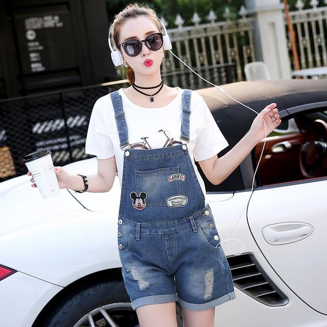 2017 Novas Mulheres Da Moda Denim Macacões Verão Suspensórios Macacão Jeans Bib Dos Desenhos Animados Jeans Casual Fino Mono Femme Plus Size