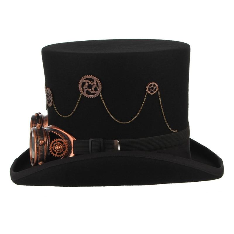 GEMVIE 100% laine feutre Steampunk unisexe haut chapeaux avec des lunettes de vitesse Rock bande chapeau Costume Fedoras magique fête cylindre chapeau - 3