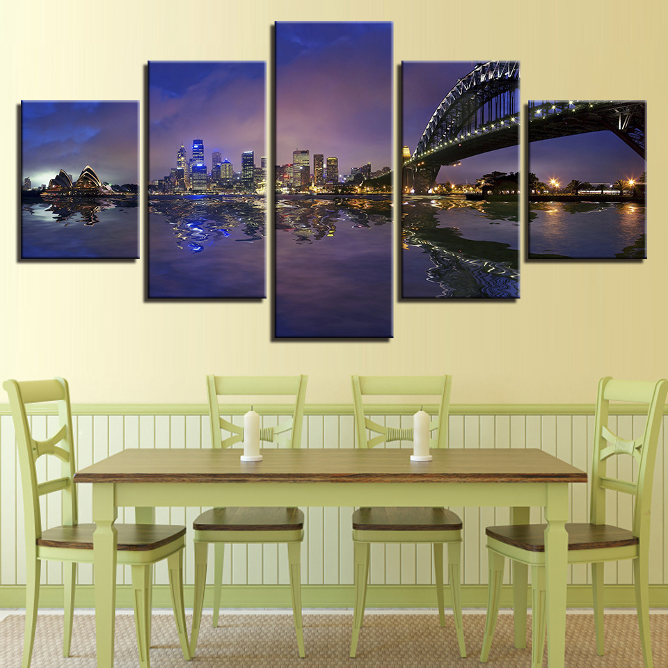 Unframed Modern Home Decor Canvas Living Room 5 Panel Sydney Harbour ...