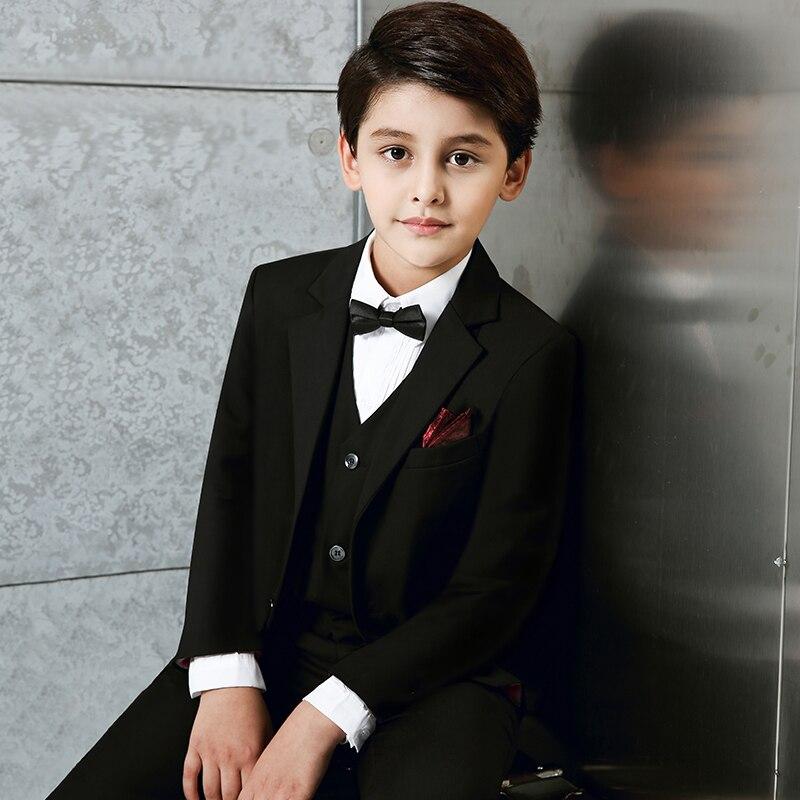 Nouveau Style noir garçons costumes pour les mariages garçon bal bleu Blazer veste ensemble fleur garçons robe