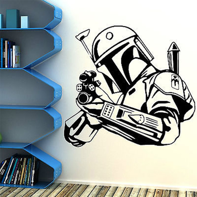 Hunter vinyl wall decal star wars bobba fett bounty hunter gun art wall sticker living room