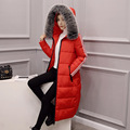 Winter Thickening Warm Long Down Jacket Fashion Women Hooded Fur Collar Long-sleeved Cotton-padded Knee-long Slim Wild Outwear