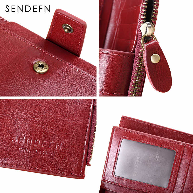 SENDEFN женский кошелек кожаный маленький роскошный брендовый кошелек женский короткий кошелек на молнии Женский кошелек для монет держатель для карт Femme красный/синий 5191-69