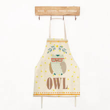 40x50cm Kids Lovely Owl Cotton Linen Apron Funny Cartoon Kitchen Housework Cooking Baking Aprons For Children new cotton aprons фартук canvas pockets baking chefs kitchen cooking apron фартук кухонный chefs with hat household merchandises