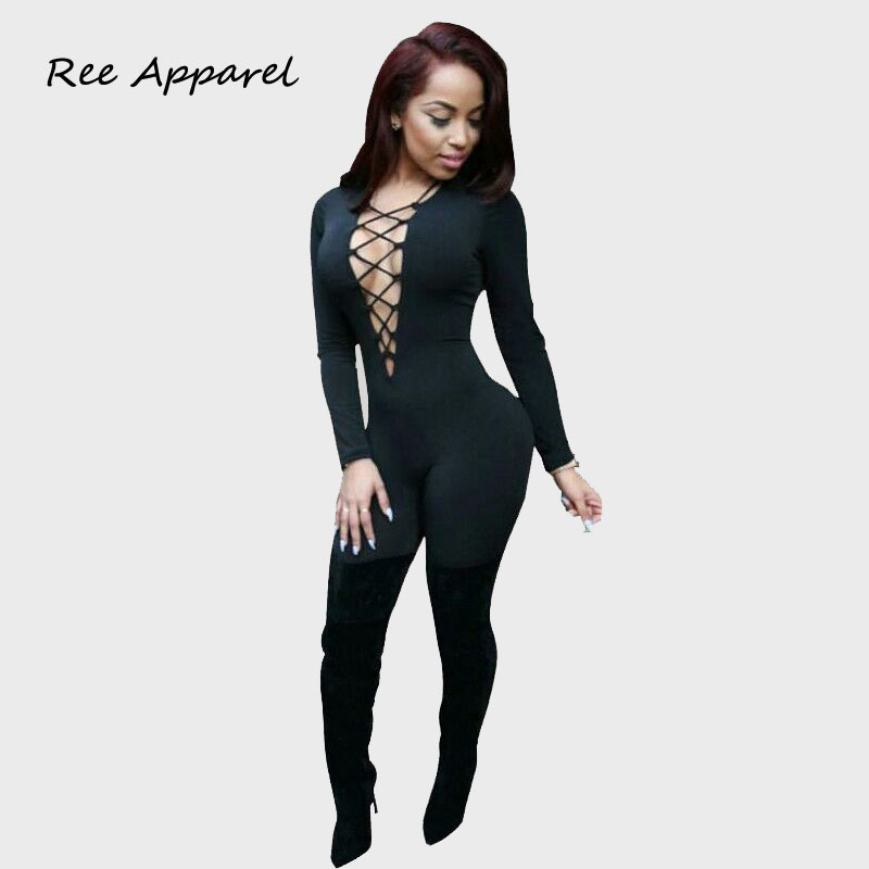 Elegant jumpsuit 2015 new womens jumpsuit fashion sexy black Lace Up V neck Long Sleeve sheath bodycon jumpsuit for women