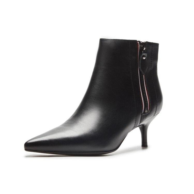 En Élégant Robe Chaton Cuir Européenne Formelle Blanc Chaussures Mode Pointu Bout Cheville Talon Femmes Conception Bottes noir Beige g7q75w